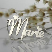Lindo Corazón Nombre Del Estilo Collar con Cadena de Caja de la placa de Identificación Personalizada Nombre Collar de Plata de Ley 925 Joyas