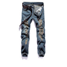 2019 New Men Jeans Hip Hop Pants Blue Destroyed Mens Slim Denim Straight Biker Skinny Jeans For Men Ripped Blue Jeans dsel brand men s jeans high quality blue color denim stripe jeans mens pants buttons destroyed ripped jeans for men biker jeans