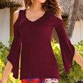 Sexy Blusa Camisas 2016 Otoño ZANZEA Mujeres Hombro V cuello flare 3/4 asimétrico blusas de manga ocasionales adelgazan más el tamaño Tops