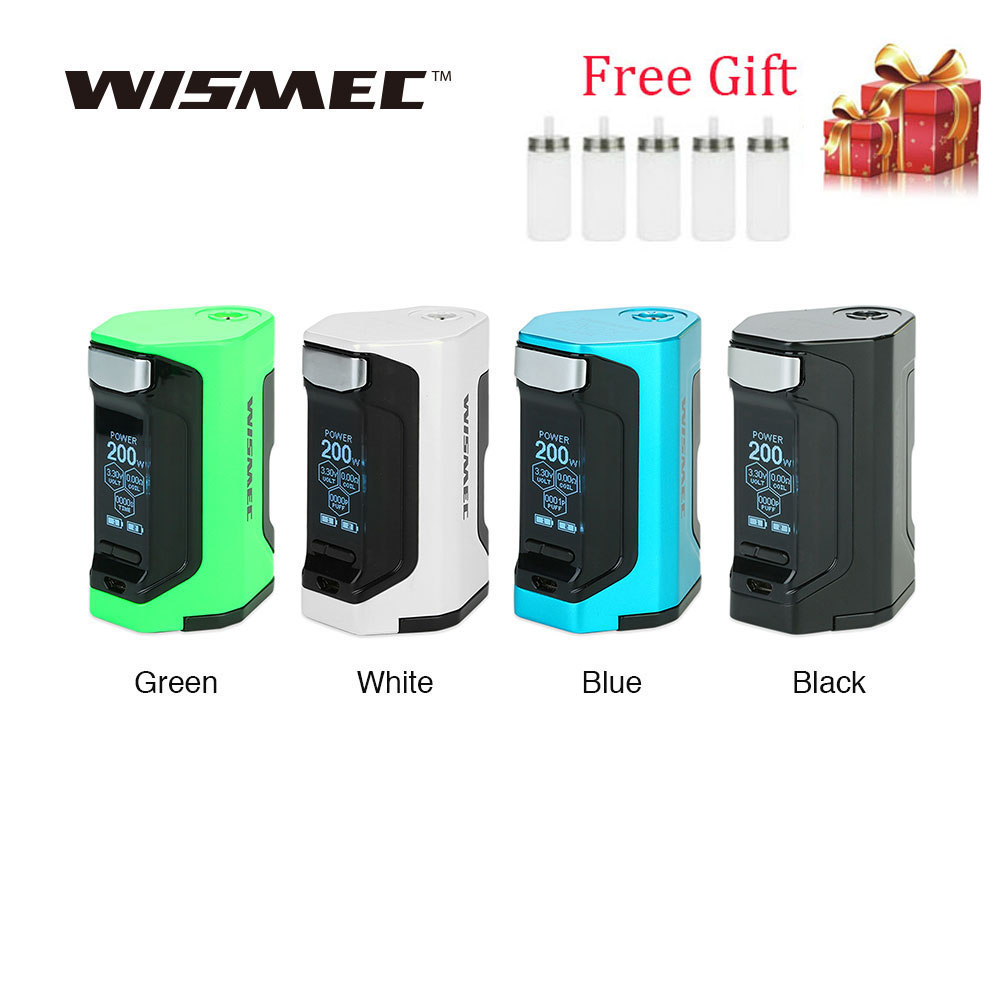Gift !!!WISMEC Luxotic DF TC Box MOD with 200W Huge Power & 1.3 Inch Display Squonk Mod No 18650 Battery Vs Luxotic BF/RX GEN3