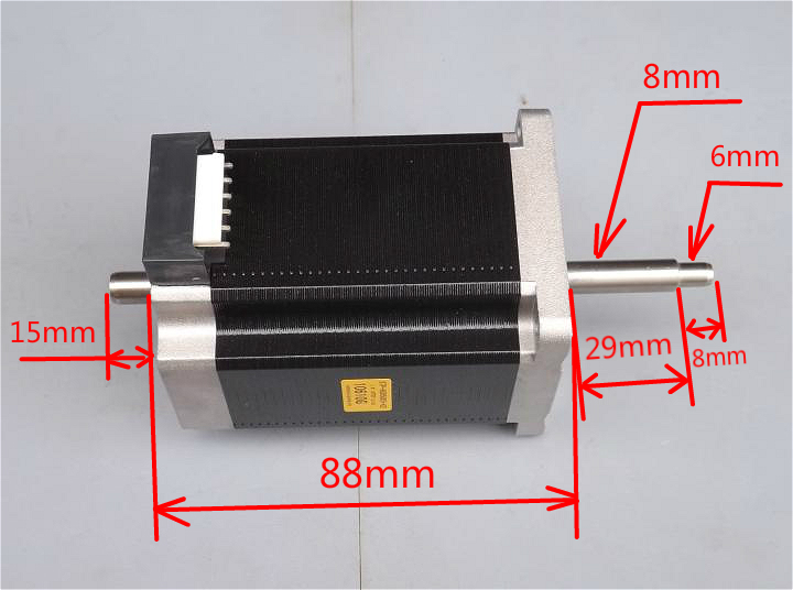 2 Phase 2.5N.m 2A 60x88mm 4 Wires Stepper Motor Dual Shaft High Torque Low Noise/Vibration Carving Machine2 Phase 2.5N.m 2A 60x88mm 4 Wires Stepper Motor Dual Shaft High Torque Low Noise/Vibration Carving Machine