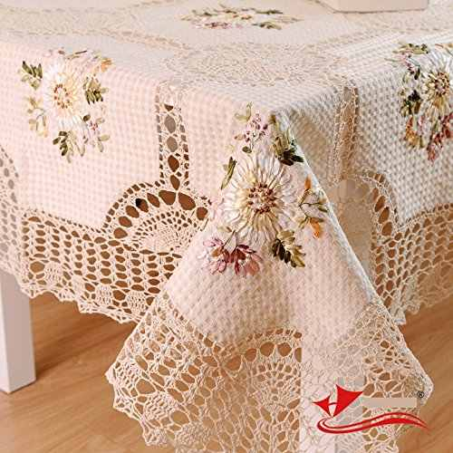 Designer 100% Handmade Crochet Tablecloth,Elegant European Rustic Floral Table Decoration,Cotton Linen Hollow Out Table Cloth