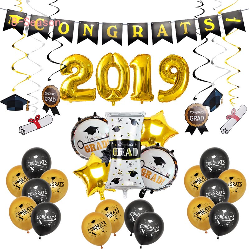 38pcs 2019 Party Decor Photo Booth Props Set Graduation Paper Banner Graduated Latex Balloons Class Of 2020 Party Supplies