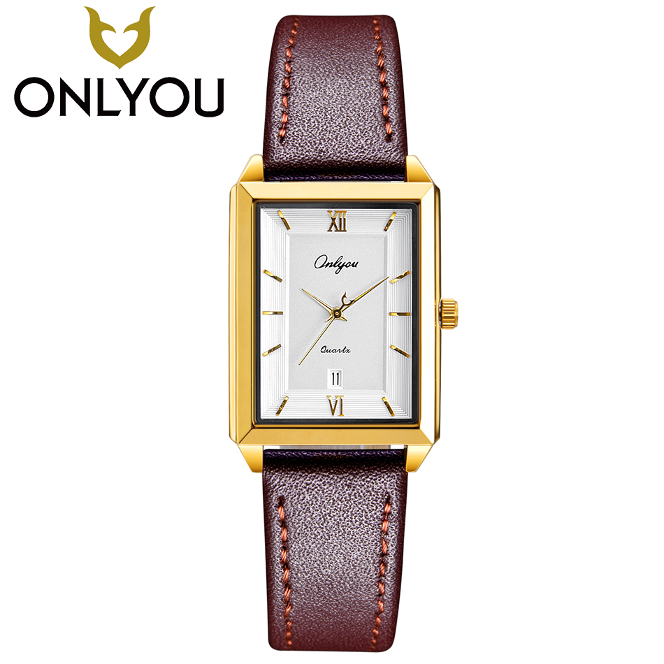 ONLYOU Fashion Women Square Watches For Lover Gift Simple Quartz Clock Ladies Casual Wristwatch Men Business Waterproof Watch onlyou men s watch women unique fashion leisure quartz watches band brown watch male clock ladies dress wristwatch black men