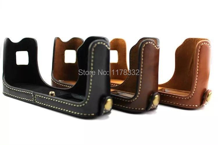 Leather Camera Case Bag New Hard Camera Half Body Set Case Shoulder Strap for Fujifilm Fuji X100 X100S X100T Leather