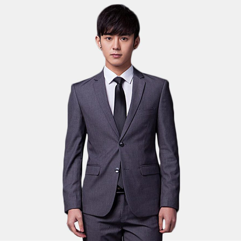 Fashion classic men's suit gray lapel single-breasted men's groomsmen dress and business office suits (jacket + pants) custom