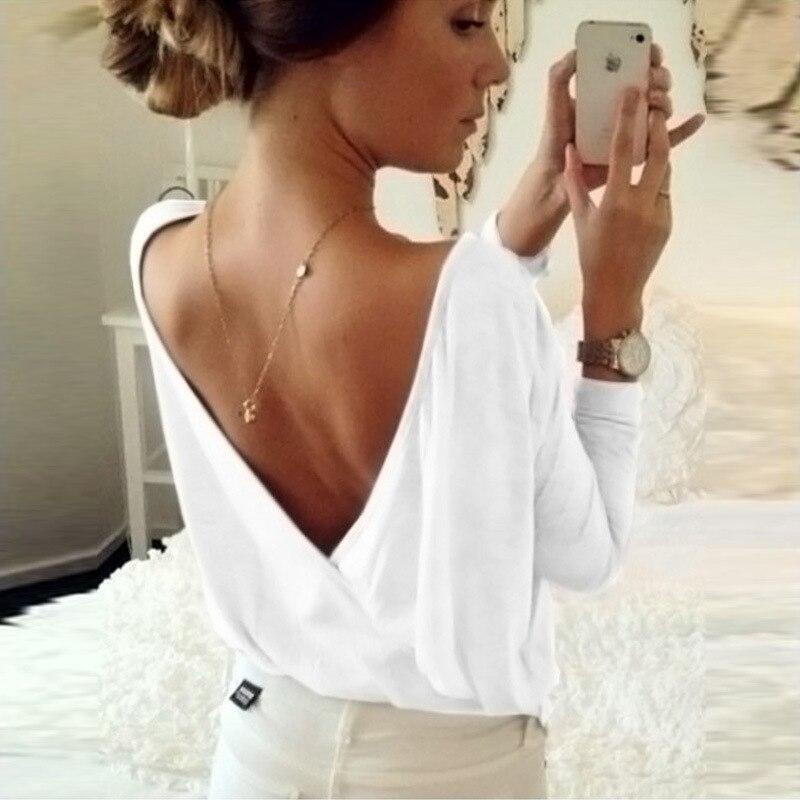 MAYFULL Women back cross long sleeved tops brand new