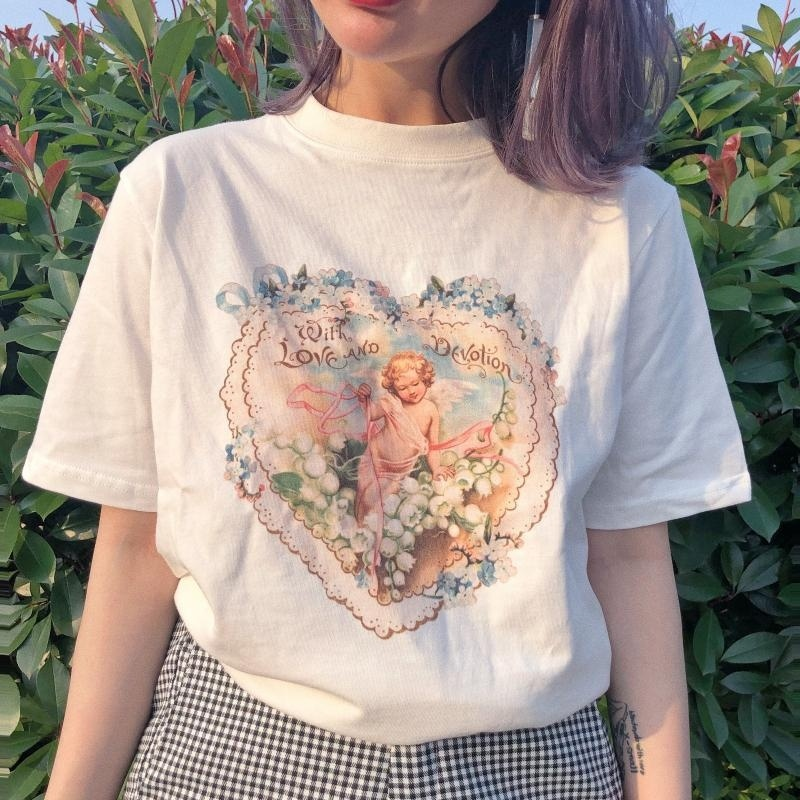 1pcs With Love And Devotion Tees Women Vintage Style Cupid Flowers T-Shirt Korean Fashion Grunge White Tee Aesthetic Art Shirt