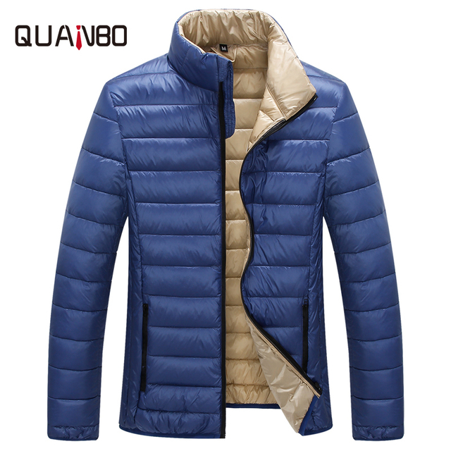 QUANBO Brand Men's Ultralight Mens Duck Down Jackets 2018 New Arrival Spring Autumn Slim Fit Short Solid Color Casual Down Coat