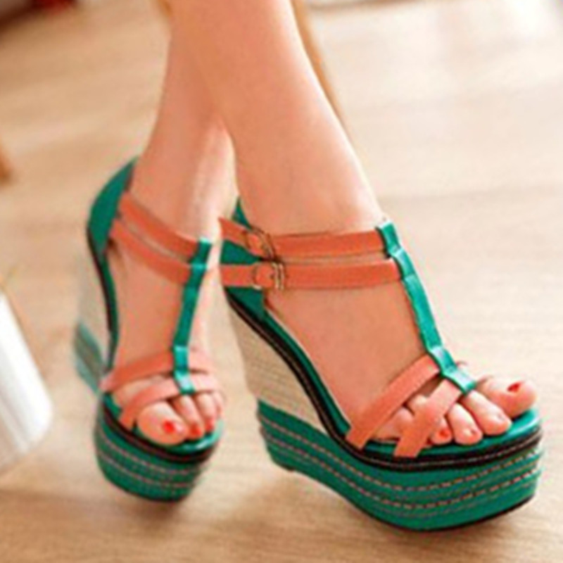 ФОТО 2017 buckles color matching T strap shoes straw wedge platform sandals high heels slippery sandals