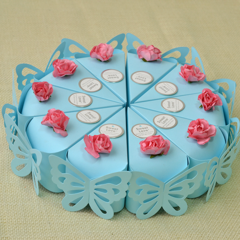 100pcs (10 Cakes) Wedding Favors Blue Butterfly Flower
