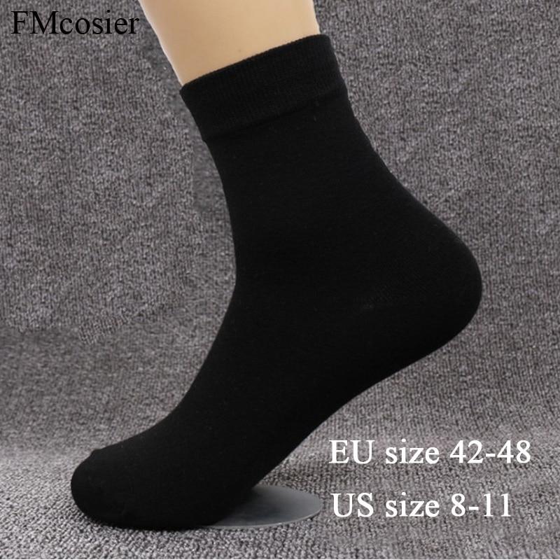 10 Pairs Plus Size Men's Cotton Soft Dress Business Formal Solid Color Mens Autumn Socks Winter Warm Black White 48 44 45 46 47