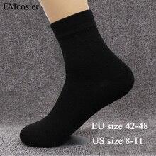 8คู่Plusขนาดชายผ้าฝ้ายนุ่มชุดธุรกิจอย่างเป็นทางการสีทึบถุงเท้าฤดูใบไม้ร่วงฤดูหนาวสีดำสีขาว48 44 45 46 47