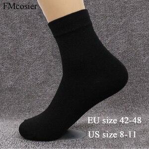 Image 1 - 8 пар размера плюс мужское хлопковое мягкое платье деловые однотонные осенние носки зимние теплые черные белые 48 44 45 46 47