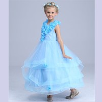 Boże narodzenie Przewodniczył Dziewczyny Sukni Ślubnej Pokazuje Dla Dzieci Princess Dress Długo Wydajność Purpl Sukienki Jasnoniebieski Ubrania