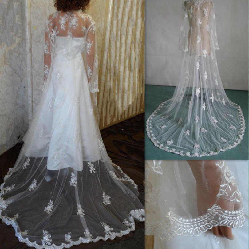 59e551b2ca ... Vintage New Long Sleeve White Ivory Lace Cape Cloak Shawl Wedding  Jacket Bridal Wrap Train With ...