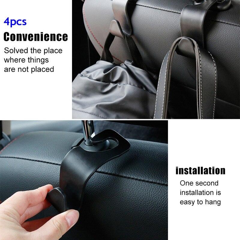 4PCS Auto Car Back Seat Headrest Hanger Holder Hook for Bag Purse Cloth Grocery