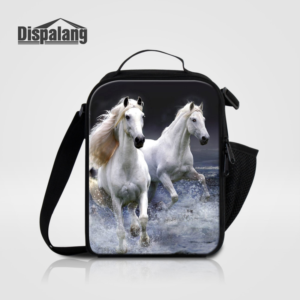 Dispalang Insulated Cooler Lunch Bags For Children Animal Horse Print Thermal Food Container Kids Lunch Box Tote Handbag