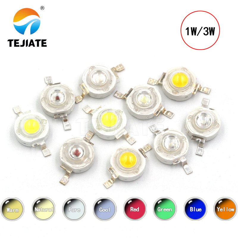 10Pcs/lot Real CREE <font><b>1W</b></font> 3W High Power <font><b>LED</b></font> Lamp Beads 2.2V-3.6V <font><b>SMD</b></font> Chip <font><b>LED</b></font> <font><b>Diodes</b></font> Bulb White / Warm White / Red / Green / Blue image