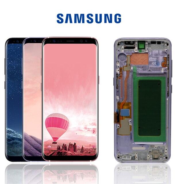 شاشة LCD أصلية لظلال الحروق S8 مع إطار لسامسونج جلاكسي S8 G950 G950F شاشة S8 Plus G955 G955F محول رقمي لشاشة اللمس