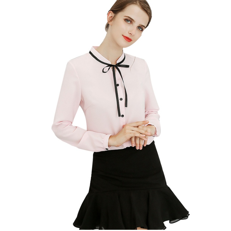 Office Ladies Blouse Fashion Long Sleeve Bow Slim Tops  Sweet Bodycon Work Blouses Blusas Autumn Spring Shirts