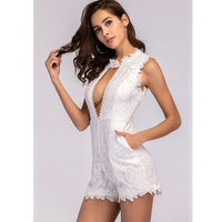 MUXU white lace jumpsuit lace bodysuit body femme sexy summer europe and the united states jumpsuits rompers combinaison short