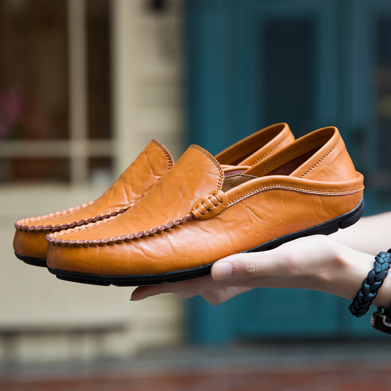 Shoes Men Flats Loafers Moccasins Genuine-Leather Luxury Man High-Quality Fashion Summer