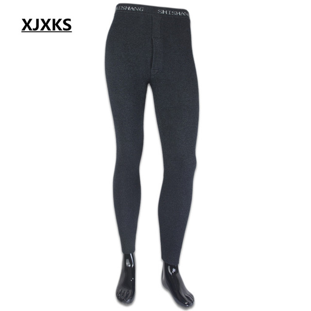 XJXKS Casual 100% Wool Knitted Men's Leggings Elasticity Autumn And Winter Warm M-XXL Comfortable Men Pants 3 Colors 1