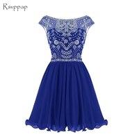 Блестящее ТРАПЕЦИЕВИДНОЕ вырез ракушка с бисером и кристаллами Мини Короткое платье с открытой спиной Королевского синего цвета в африкан