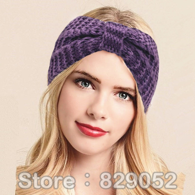acheter de laine bandeau pour femmes hiver oreille warmer bow crochet turban. Black Bedroom Furniture Sets. Home Design Ideas