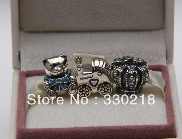 La moda de nueva Royal corona / cochecito de bebé / perlas de oso de peluche 925 encantos de la plata esterlina establece Compatible con europea joyas pulsera