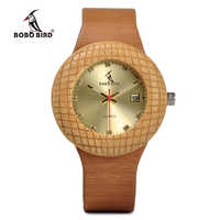 BOBO BIRD Leather Strap Wooden Quartz Watches Top Brand Men Women Timepieces Wristwatches With Gift Watch Box Drop Shiping