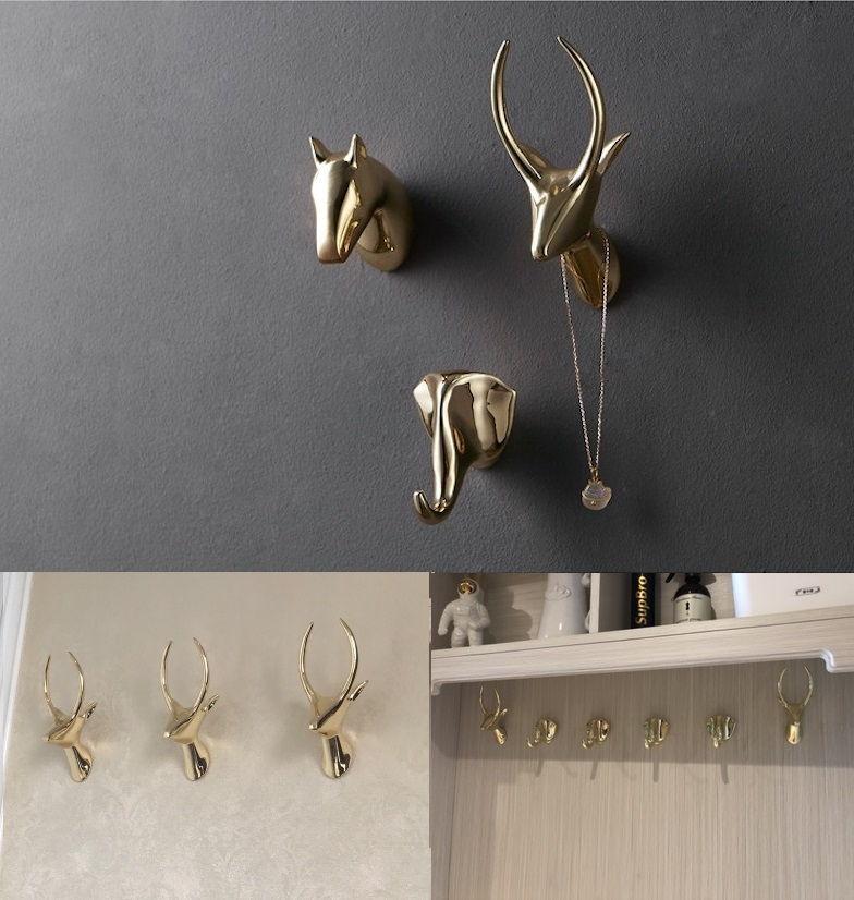 Premintehdw Golden Zinc Wall Mount Coat Hat Hook Wardrobe Robe Clothes Hanger With Screws and decoration animal head fixmee 50pcs white plastic invisible wall mount photo picture frame nail hook hanger