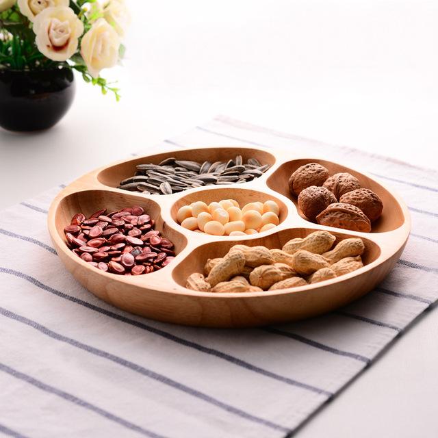 1pc  Ceramic Dishes Wood Tray Snacks