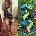 Senhoras Jumpsuit 2015 Nova Verão Mulheres Camuflagem Soltos Rompers Macacões Sem Mangas Shorts Macacão Sensuais Para As Mulheres Frete Grátis