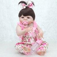 57cm full silicone real Body Girl reborn baby doll Toys realistic newborn princess babies fashion Dolls baby toy reborn