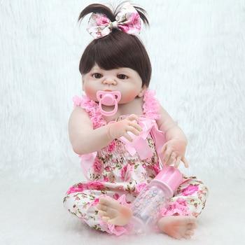 цена на Reborn Baby Dolls 23 Inch Fashion Full Silicone Vinyl Bebe Reborn Realistic Princess Baby Toy Kids Surprice