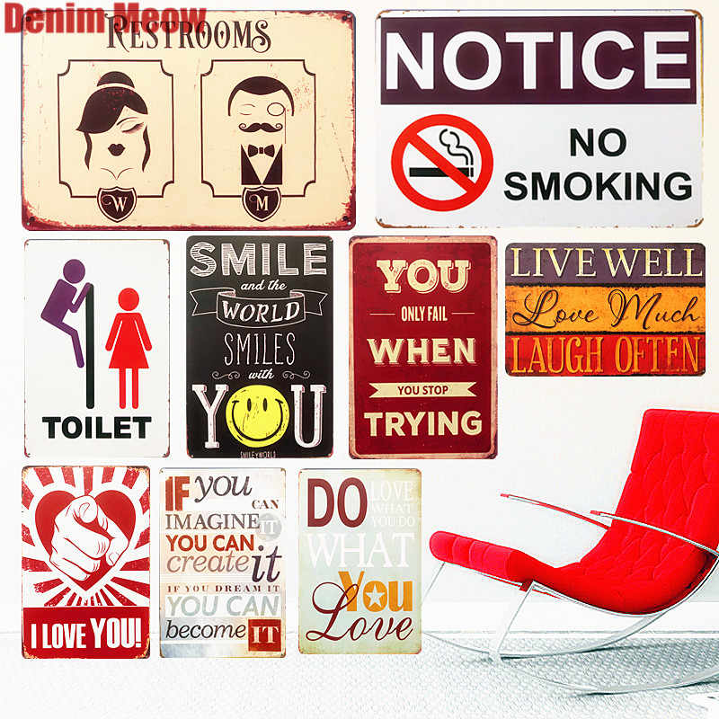Notice NO Smoking Retro Metal Signs Cafe Bar Pub Casino Decorative Plates Toilet Wall Stickers Painting Vintage Home Decor N261