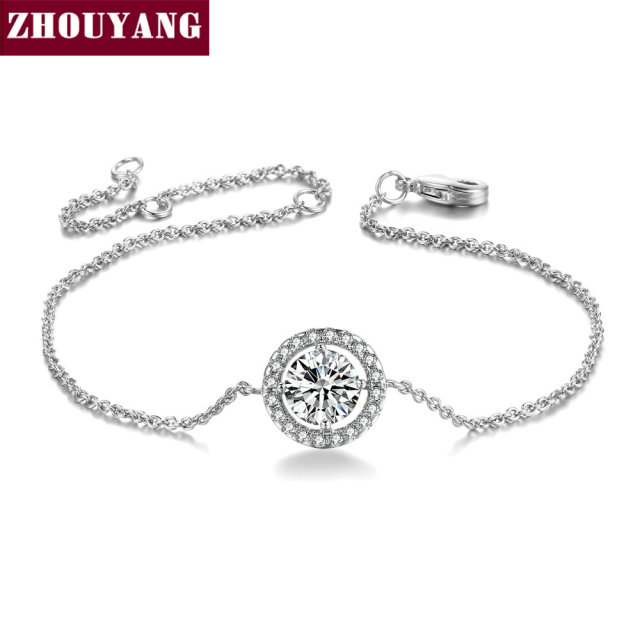 ZHOUYANG Top Quality ZYH101 Cubic Zirconia Simple Silver Color Bracelet Jewelry Austrian Crystals