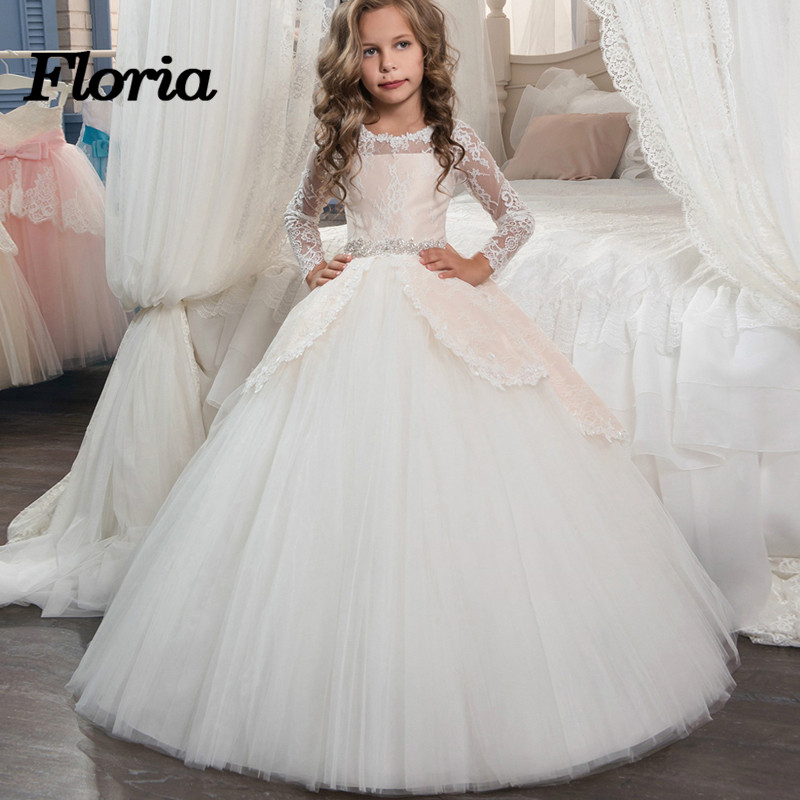 Lace Ball Gown Flower Girl Dress For Weddings with Sleeveless Girl ...