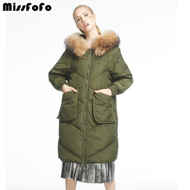 MissFoFo Фирменная Новинка модная пуховая Верхняя одежда Зеленый большого размера, натуральный мех пуховики белая утка вниз зеленый S-2XL