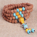 Ubeauty 6mm 108 Nepal natural bodhi seed buddhist prayer Mala Beads bracelet necklace tibetan turquoise bead for meditation