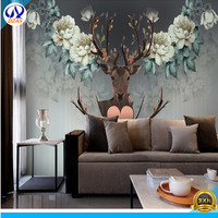 Hand Painted Flowers Elk Wallpaper European Retro Personality Tv Background Wallpaper Cafe 3d Large Murals