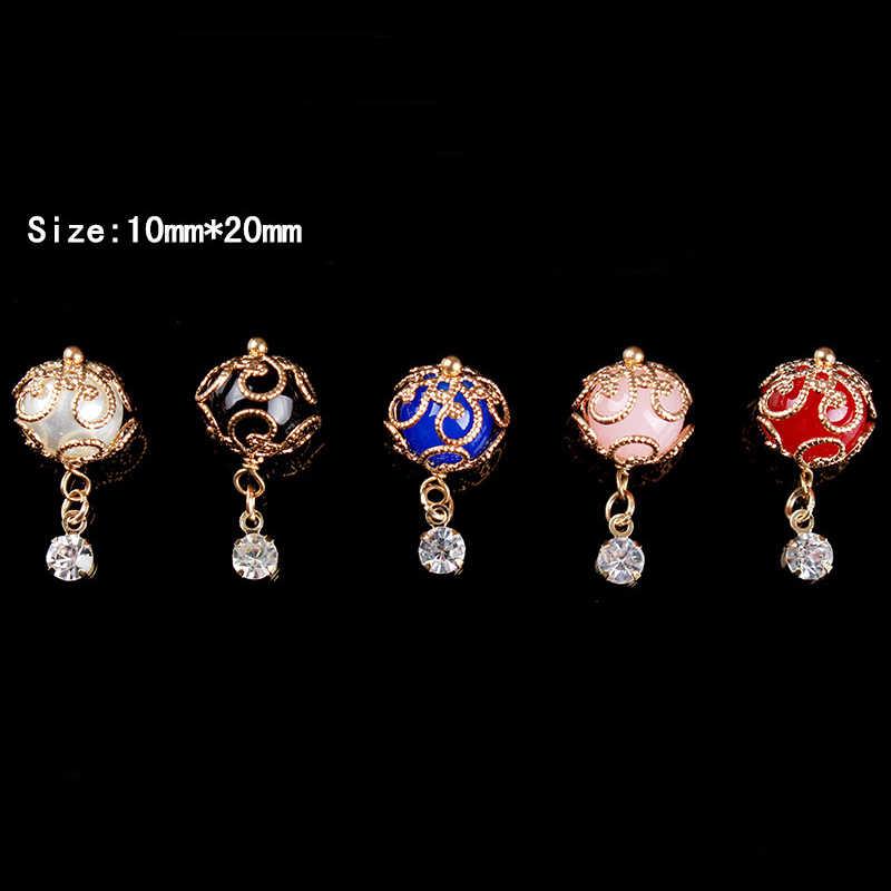 1 Pc 3D hueco colgante de cuentas de diamantes de imitación decoración de uñas Gel esmalte diseño manicura decoración de uñas