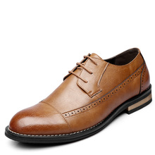 2019 New Men Dress Shoes Handmade Leather Brogue Wedding Flats Oxfords Formal