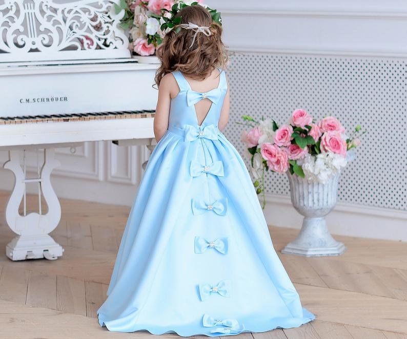 Élégant bleu ciel fleur fille robes Junior demoiselle d'honneur satin enfant en bas âge robe formelle fille tutu robes fête robe de bal avec train