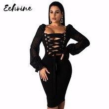 Echoine Women Bodycon Elegant Long Sleeve 2019 Autumn Sheath Skinny Dress Solid Square Collar Lace Up Night Club Party Dresses