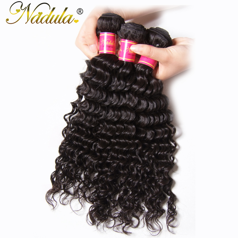 Nadula Hair 12-26inch Deep Wave Brazilian Hair Weaves 1 Piece Only Non-Remy Hair Bundles Natural Color Human Hair Free Shipping