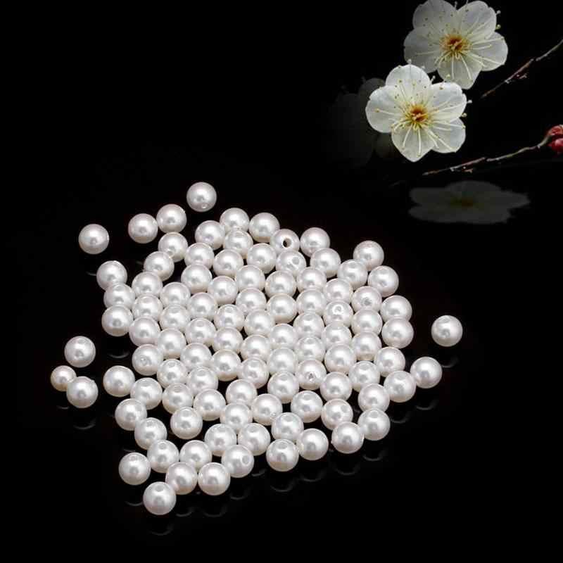 Alrededor de 4/5/6/8/10/12/14mm espacio redondo de perlas simuladas cuentas sueltas para pulseras accesorios para hacer joyas regalo al por mayor