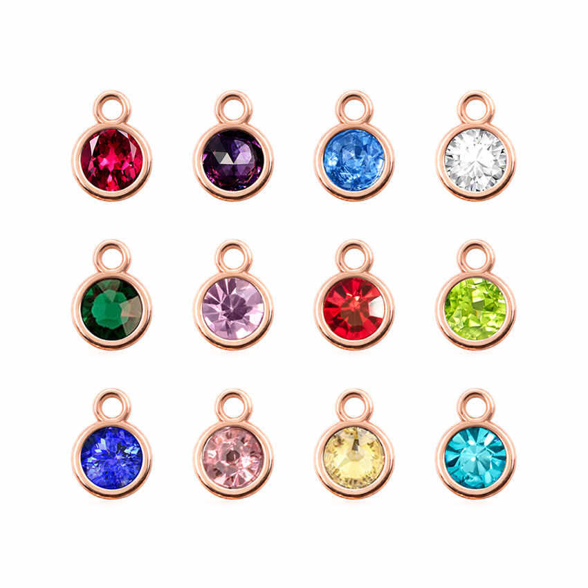 Wholesale 12pcs rose gold/gold/silver color Rhinestone charms Birthstone Charms Diy Accessories Jewelry Making
